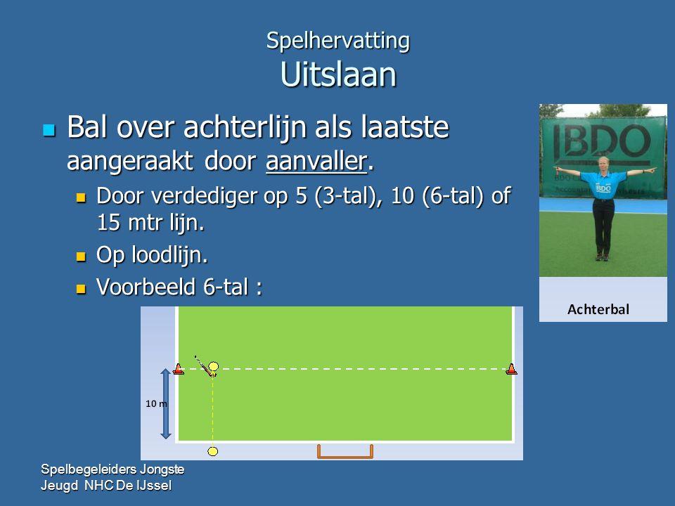 Spelhervatting Uitslaan  Bal over achterlijn als laatste aangeraakt door aanvaller.  Door verdediger op 5 (3-tal), 10 (6-tal) of 15 mtr lijn.  Op l
