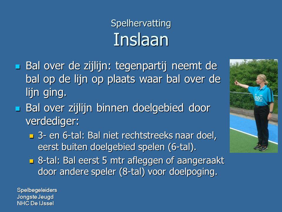 Spelhervatting Inslaan  Bal over de zijlijn: tegenpartij neemt de bal op de lijn op plaats waar bal over de lijn ging.  Bal over zijlijn binnen doel