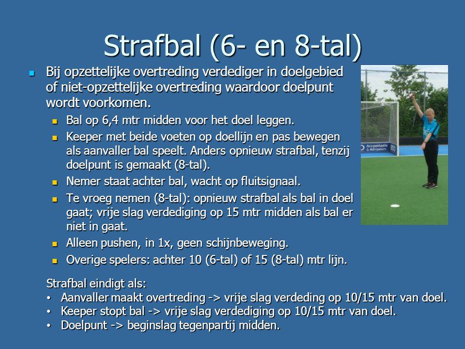 Strafbal (6- en 8-tal)  Bij opzettelijke overtreding verdediger in doelgebied of niet-opzettelijke overtreding waardoor doelpunt wordt voorkomen.  B