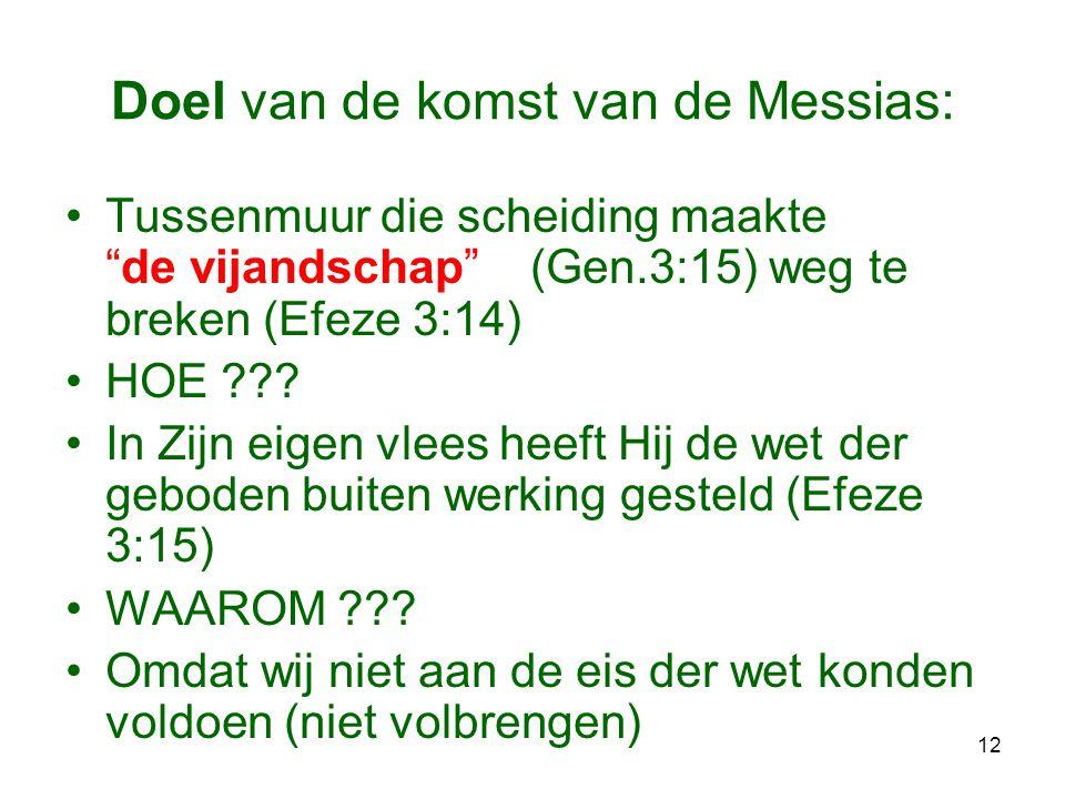"""12 Doel van de komst van de Messias: •Tussenmuur die scheiding maakte """"de vijandschap"""" (Gen.3:15) weg te breken (Efeze 3:14) •HOE ??? •In Zijn eigen v"""