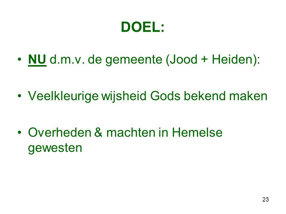 23 DOEL: •NU d.m.v. de gemeente (Jood + Heiden): •Veelkleurige wijsheid Gods bekend maken •Overheden & machten in Hemelse gewesten