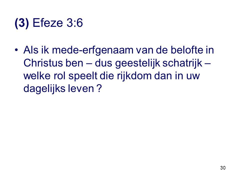 30 (3) Efeze 3:6 •Als ik mede-erfgenaam van de belofte in Christus ben – dus geestelijk schatrijk – welke rol speelt die rijkdom dan in uw dagelijks l
