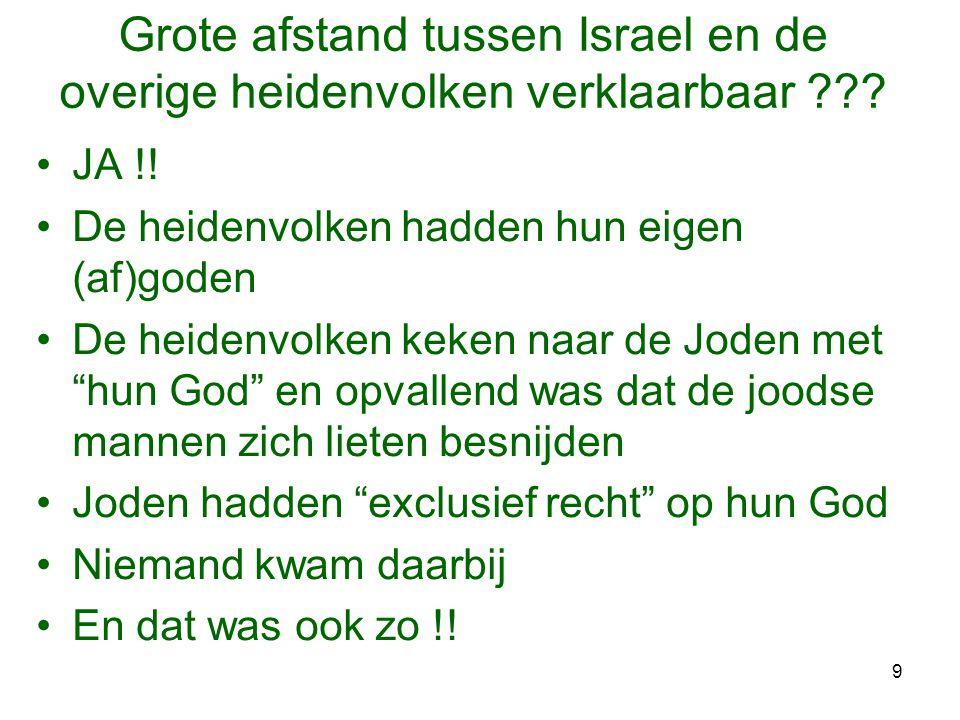 9 Grote afstand tussen Israel en de overige heidenvolken verklaarbaar ??? •JA !! •De heidenvolken hadden hun eigen (af)goden •De heidenvolken keken na