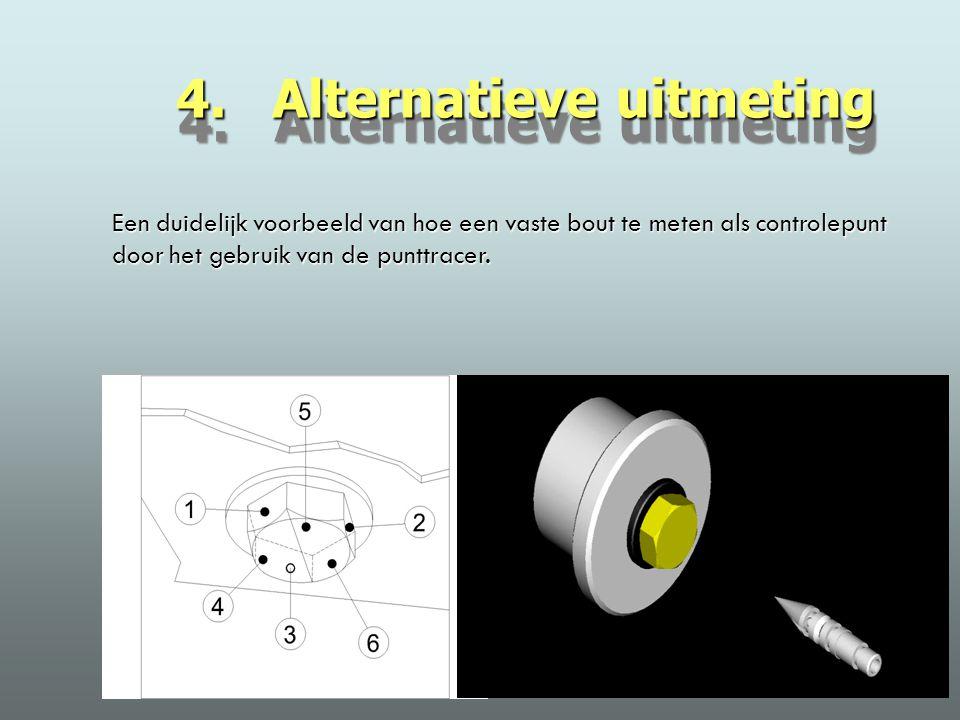 4. Alternatieve uitmeting Een duidelijk voorbeeld van hoe een vaste bout te meten als controlepunt door het gebruik van de punttracer.
