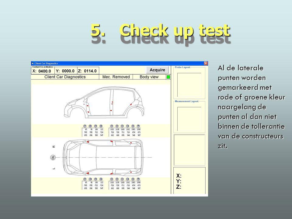 5. Check up test Al de laterale punten worden gemarkeerd met rode of groene kleur naargelang de punten al dan niet binnen de tollerantie van de constr