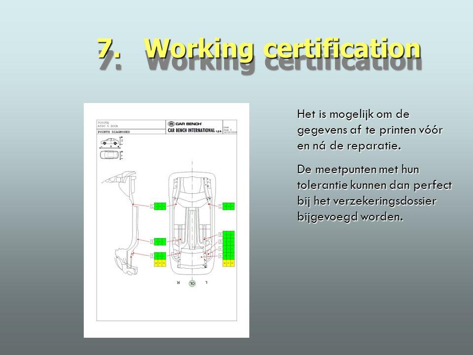 7. Working certification Het is mogelijk om de gegevens af te printen vóór en ná de reparatie.