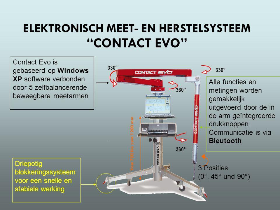 Contact Evo is gebaseerd op Windows XP software verbonden door 5 zelfbalancerende beweegbare meetarmen 330° 360° Alle functies en metingen worden gemakkelijk uitgevoerd door de in de arm geïntegreerde drukknoppen.
