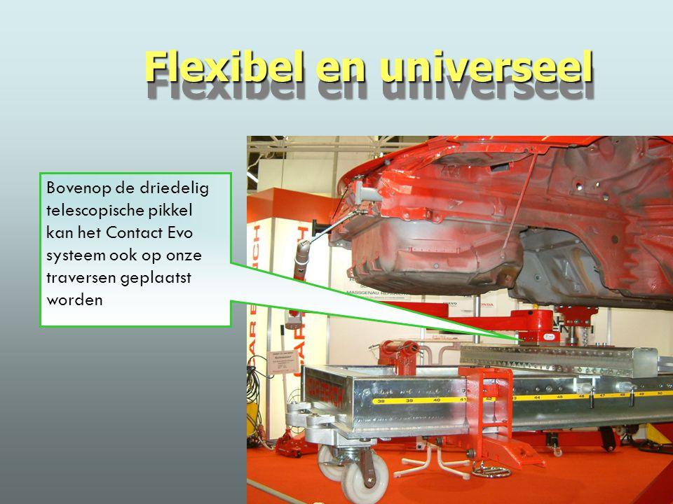 Bovenop de driedelig telescopische pikkel kan het Contact Evo systeem ook op onze traversen geplaatst worden Flexibel en universeel