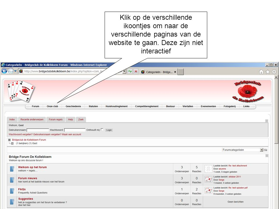 Klik op de verschillende ikoontjes om naar de verschillende paginas van de website te gaan.