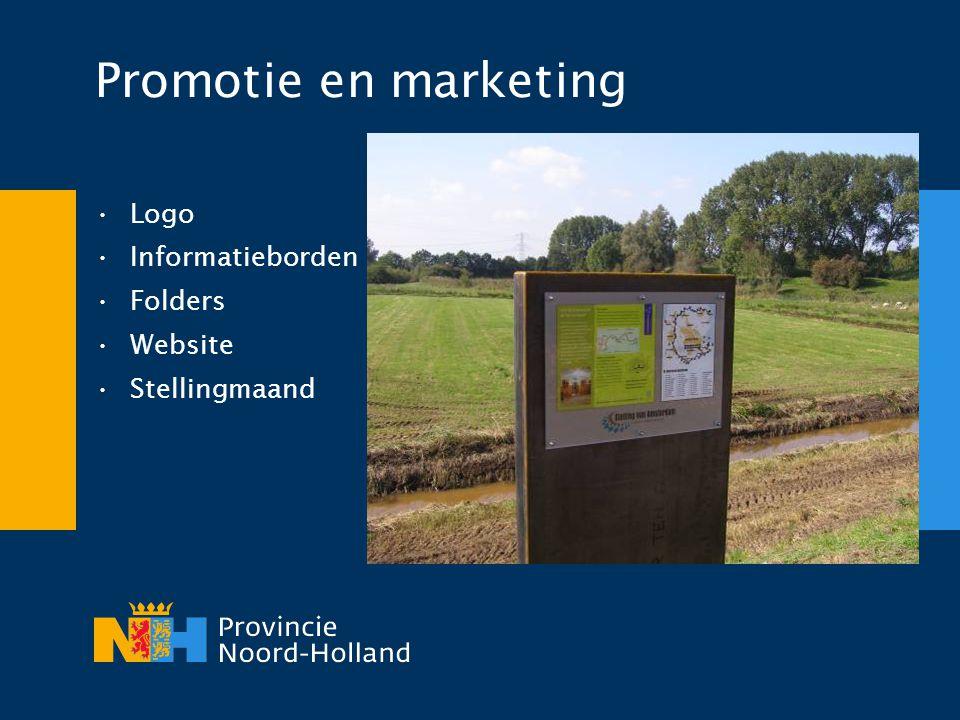 Promotie en marketing •Logo •Informatieborden •Folders •Website •Stellingmaand