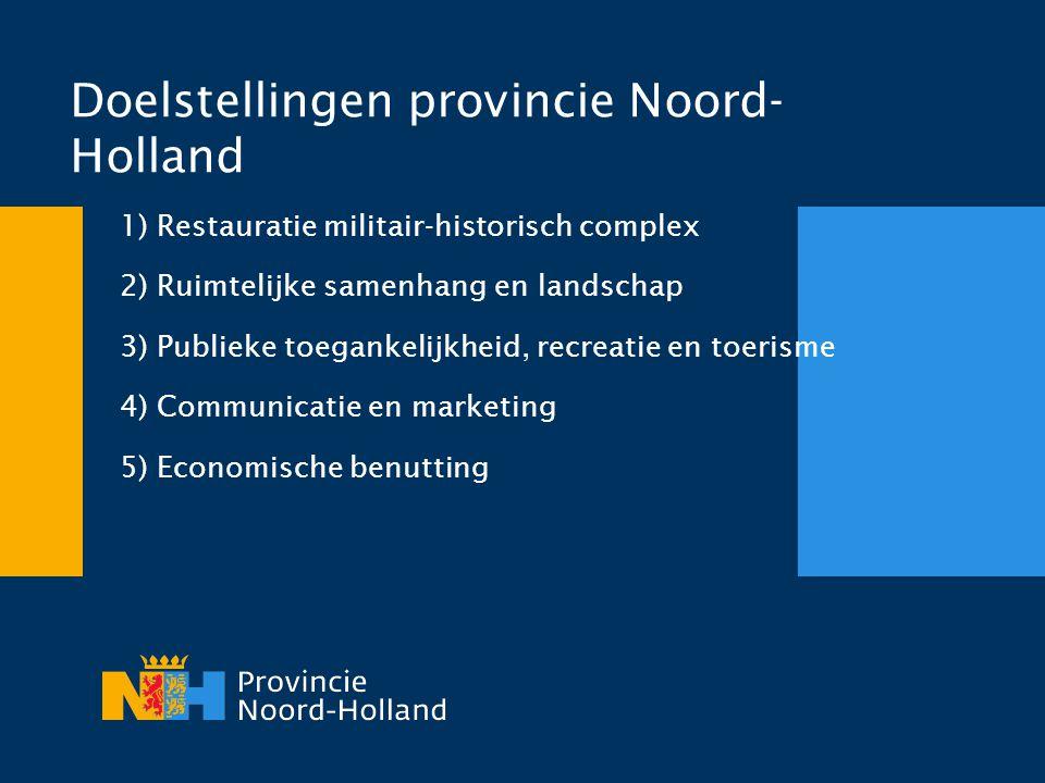 Doelstellingen provincie Noord- Holland 1) Restauratie militair-historisch complex 2) Ruimtelijke samenhang en landschap 3) Publieke toegankelijkheid,