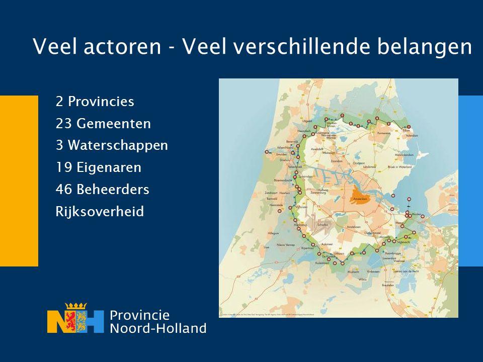 Veel actoren - Veel verschillende belangen 2 Provincies 23 Gemeenten 3 Waterschappen 19 Eigenaren 46 Beheerders Rijksoverheid