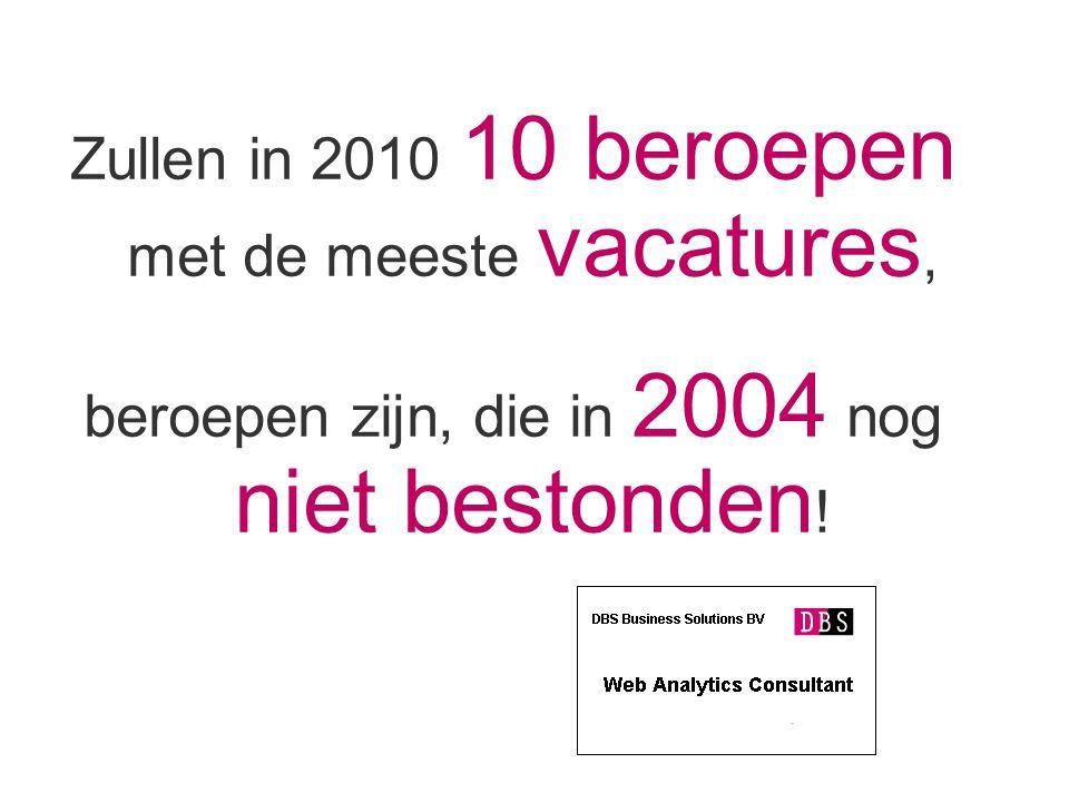 Zullen in 2010 10 beroepen met de meeste vacatures, beroepen zijn, die in 2004 nog niet bestonden !
