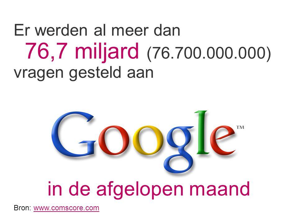 Er werden al meer dan 76,7 miljard (76.700.000.000) vragen gesteld aan in de afgelopen maand Bron: www.comscore.comwww.comscore.com
