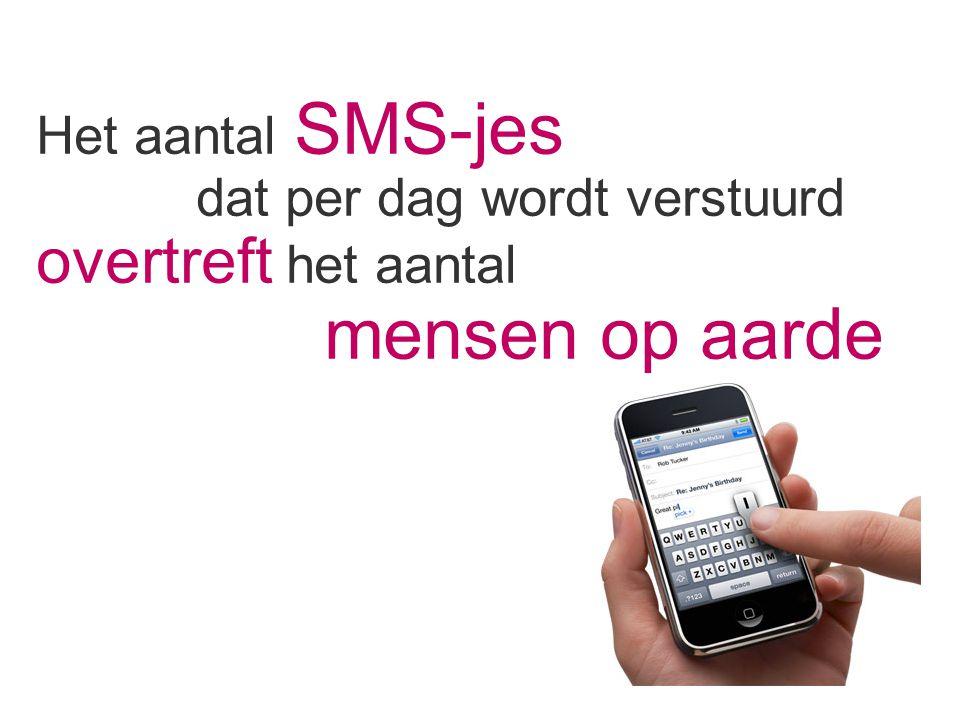 Het aantal SMS-jes dat per dag wordt verstuurd overtreft het aantal mensen op aarde