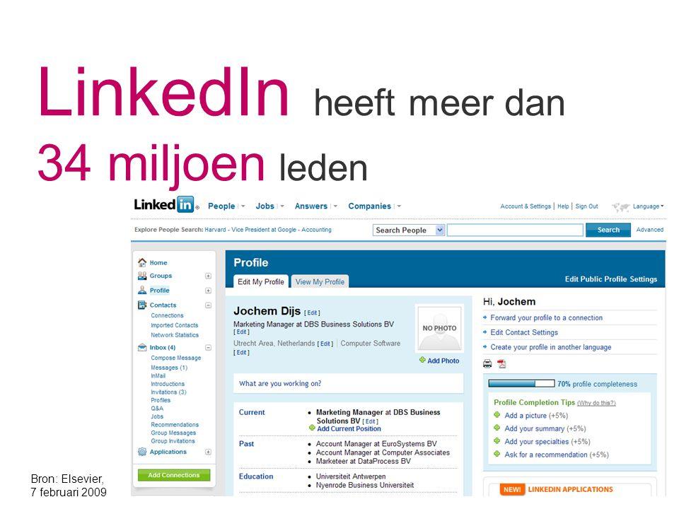 LinkedIn heeft meer dan 34 miljoen leden Bron: Elsevier, 7 februari 2009