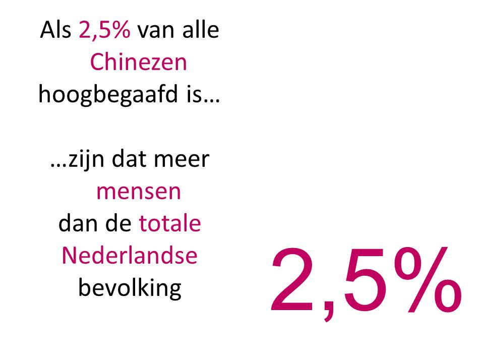 Als 2,5% van alle Chinezen hoogbegaafd is… …zijn dat meer mensen dan de totale Nederlandse bevolking 2,5%