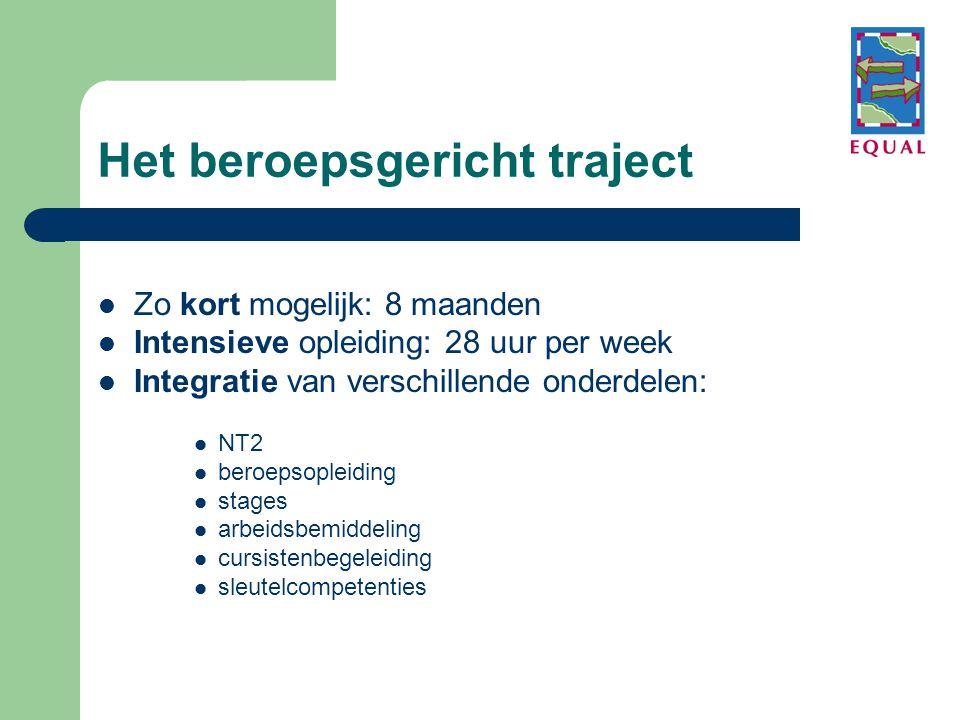 Het beroepsgericht traject  Zo kort mogelijk: 8 maanden  Intensieve opleiding: 28 uur per week  Integratie van verschillende onderdelen:  NT2  beroepsopleiding  stages  arbeidsbemiddeling  cursistenbegeleiding  sleutelcompetenties
