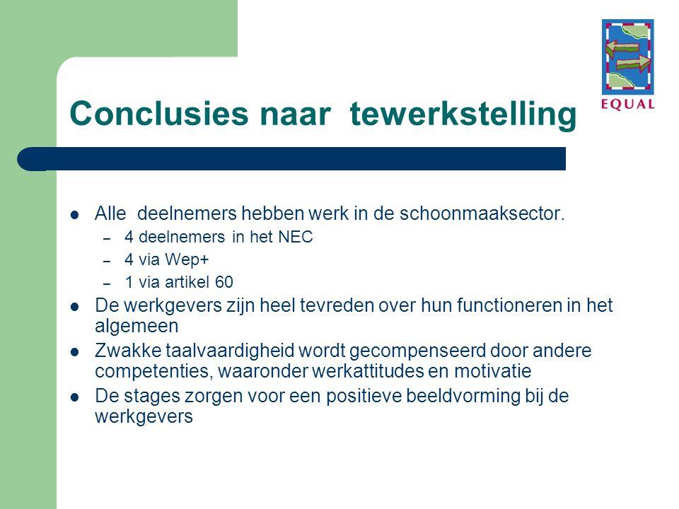 Conclusies naar tewerkstelling  Alle deelnemers hebben werk in de schoonmaaksector. – 4 deelnemers in het NEC – 4 via Wep+ – 1 via artikel 60  De we
