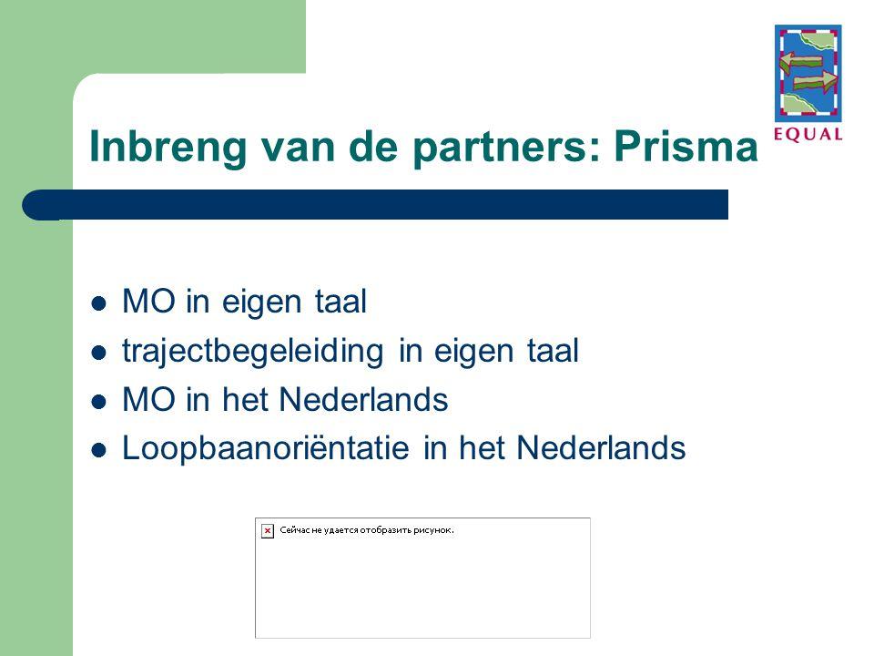 Inbreng van de partners: Prisma  MO in eigen taal  trajectbegeleiding in eigen taal  MO in het Nederlands  Loopbaanoriëntatie in het Nederlands