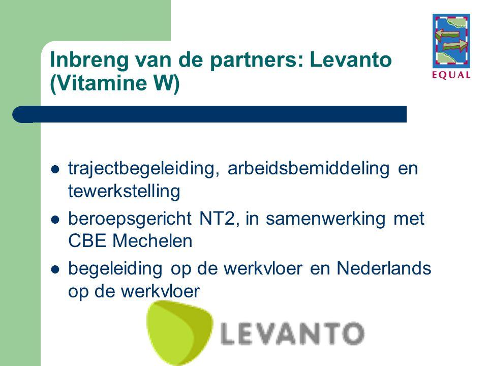 Inbreng van de partners: Levanto (Vitamine W)  trajectbegeleiding, arbeidsbemiddeling en tewerkstelling  beroepsgericht NT2, in samenwerking met CBE Mechelen  begeleiding op de werkvloer en Nederlands op de werkvloer