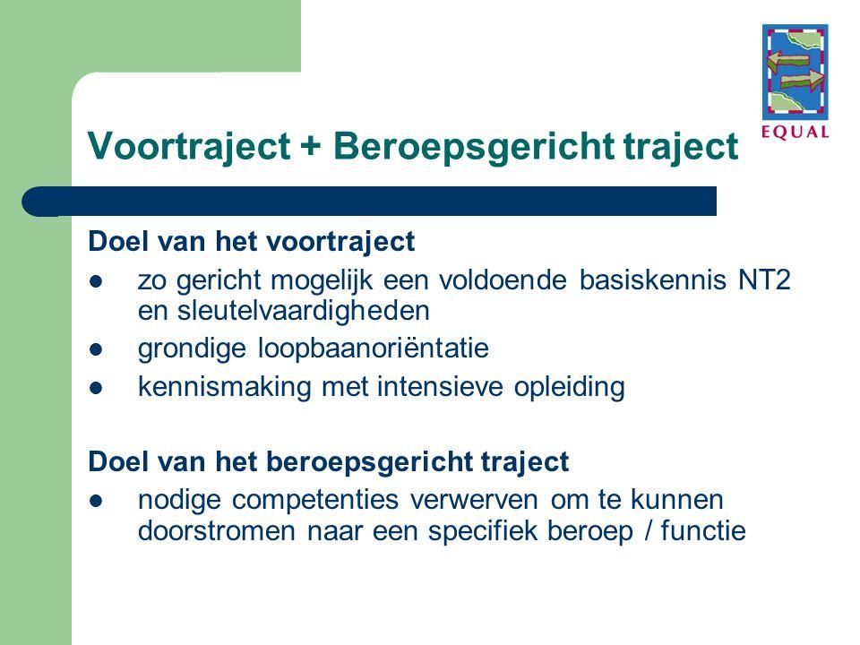 Voortraject + Beroepsgericht traject Doel van het voortraject  zo gericht mogelijk een voldoende basiskennis NT2 en sleutelvaardigheden  grondige lo