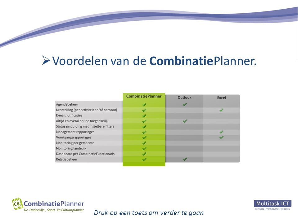 Druk op een toets om verder te gaan  Voordelen van de CombinatiePlanner.