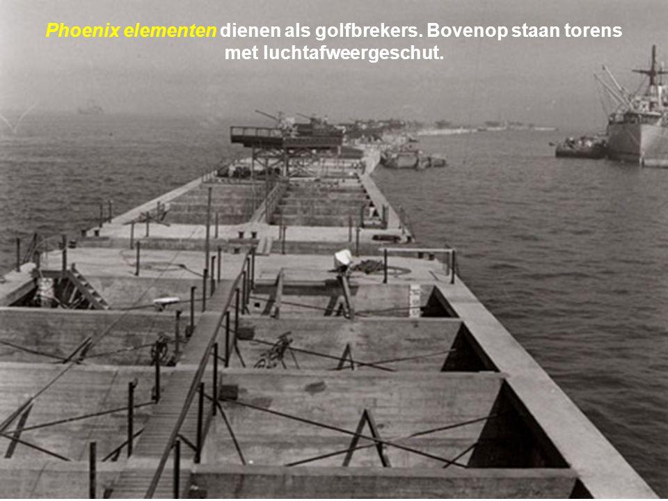 Het volledige constructiewerk van de artificiële havens rust op de schouders van enkel de Britten wier oorlogsindustrie al overbelast is. Niettemin ve