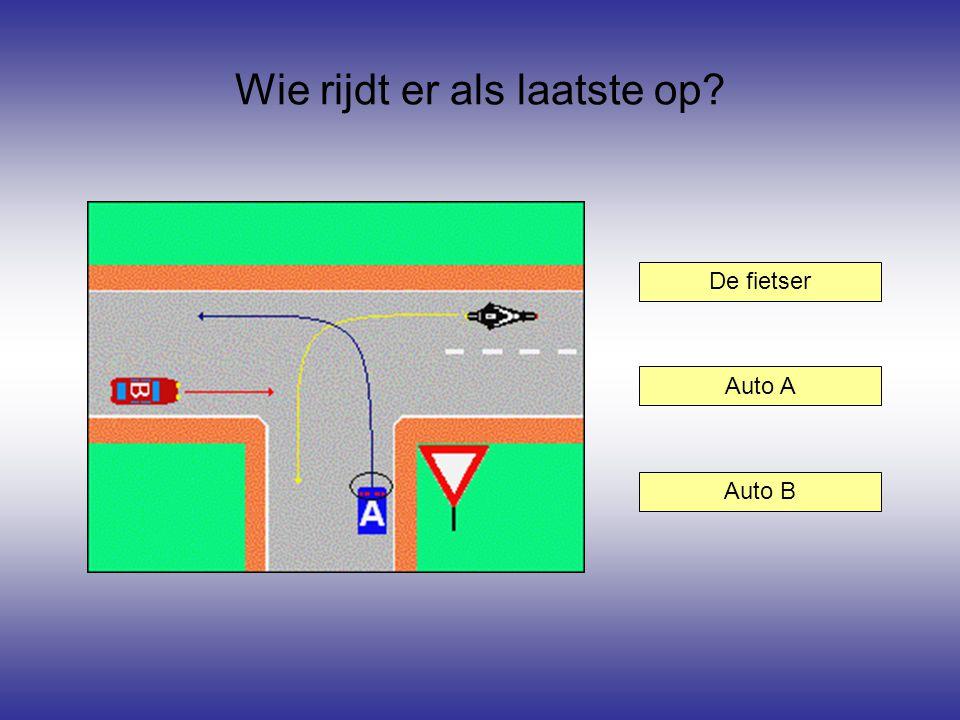 Wie rijdt er als laatste op? De fietser Auto B Auto A