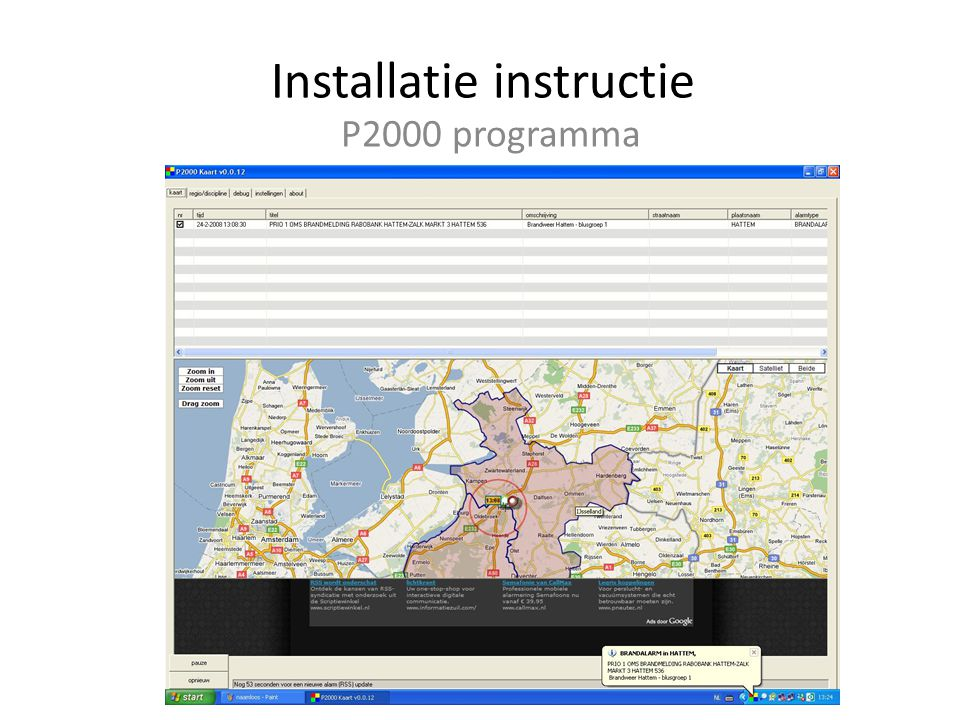 Installatie instructie P2000 programma