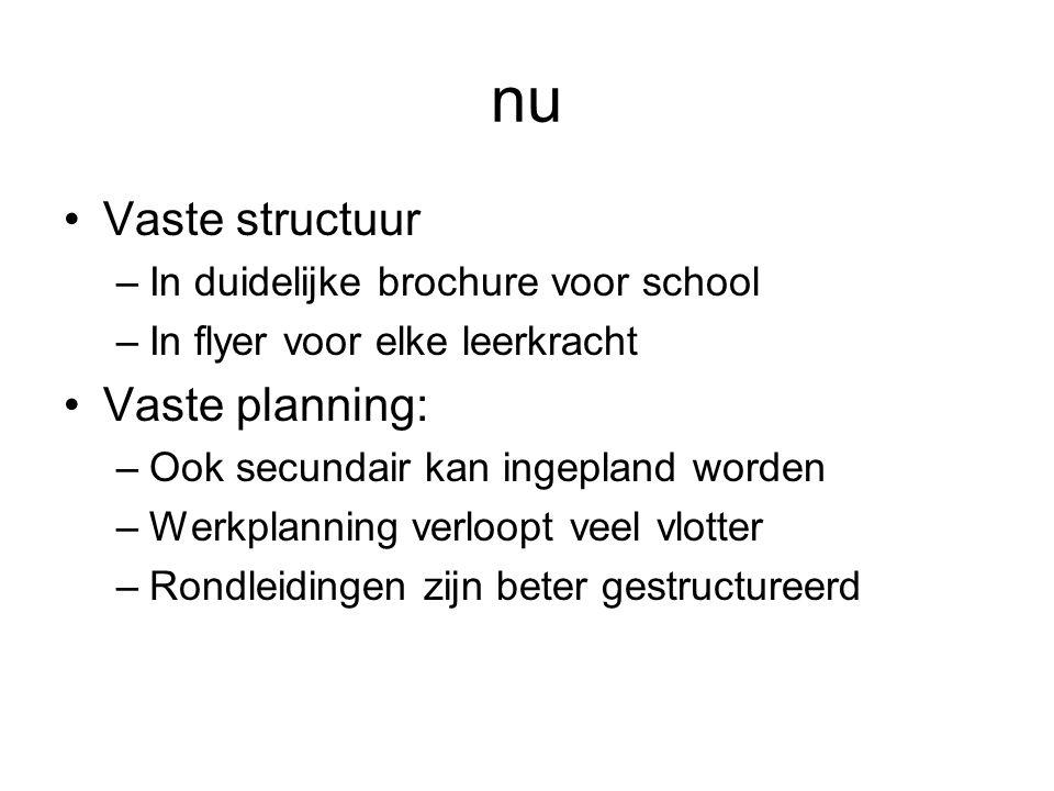 nu •Vaste structuur –In duidelijke brochure voor school –In flyer voor elke leerkracht •Vaste planning: –Ook secundair kan ingepland worden –Werkplanning verloopt veel vlotter –Rondleidingen zijn beter gestructureerd
