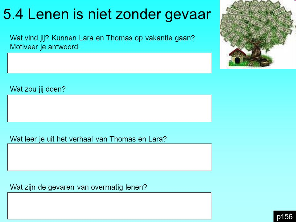 5.4 Lenen is niet zonder gevaar p156 Wat vind jij? Kunnen Lara en Thomas op vakantie gaan? Motiveer je antwoord. EUR Wat zou jij doen? Wat leer je uit