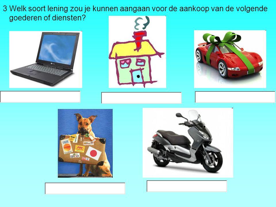 3 Welk soort lening zou je kunnen aangaan voor de aankoop van de volgende goederen of diensten?