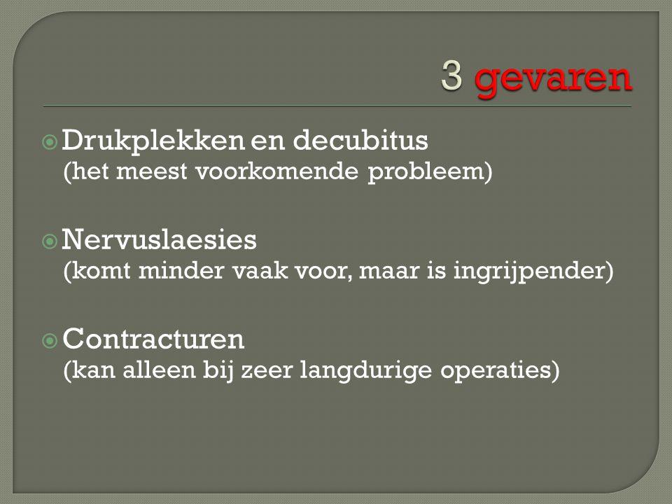  Drukplekken en decubitus (het meest voorkomende probleem)  Nervuslaesies (komt minder vaak voor, maar is ingrijpender)  Contracturen (kan alleen b