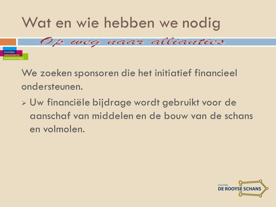 Wat en wie hebben we nodig We zoeken sponsoren die het initiatief financieel ondersteunen.
