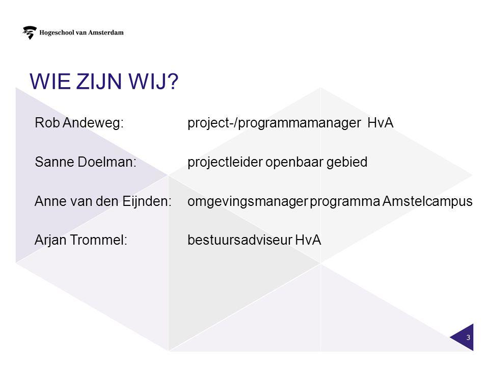 WIE ZIJN WIJ? Rob Andeweg: project-/programmamanager HvA Sanne Doelman: projectleider openbaar gebied Anne van den Eijnden: omgevingsmanagerprogramma