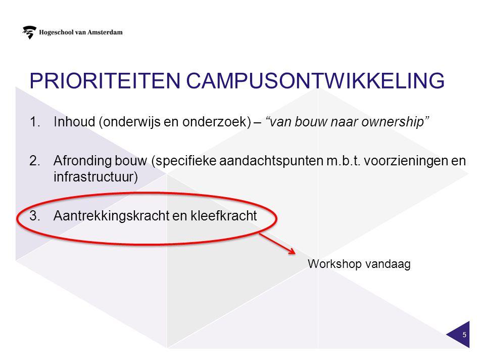 """PRIORITEITEN CAMPUSONTWIKKELING 1.Inhoud (onderwijs en onderzoek) – """"van bouw naar ownership"""" 2.Afronding bouw (specifieke aandachtspunten m.b.t. voor"""