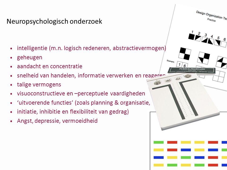 • intelligentie (m.n. logisch redeneren, abstractievermogen) • geheugen • aandacht en concentratie • snelheid van handelen, informatie verwerken en re