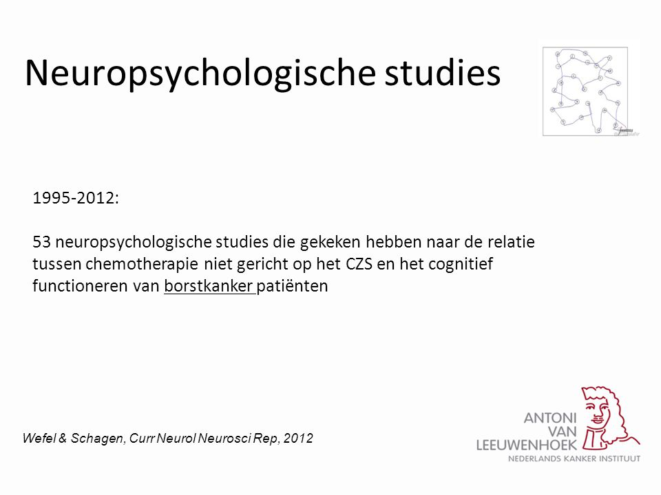 Neuropsychologische studies 1995-2012: 53 neuropsychologische studies die gekeken hebben naar de relatie tussen chemotherapie niet gericht op het CZS