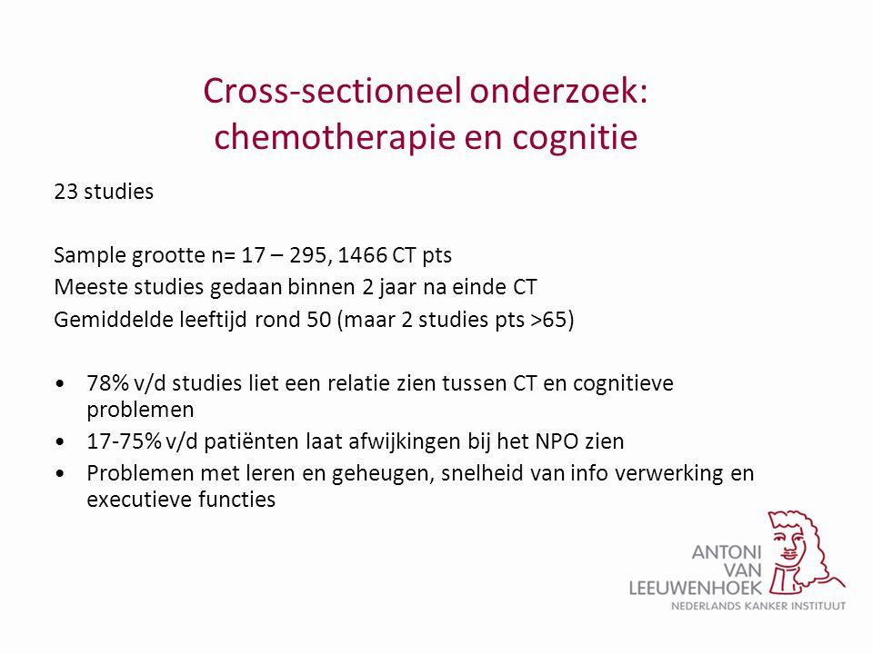 Cross-sectioneel onderzoek: chemotherapie en cognitie 23 studies Sample grootte n= 17 – 295, 1466 CT pts Meeste studies gedaan binnen 2 jaar na einde