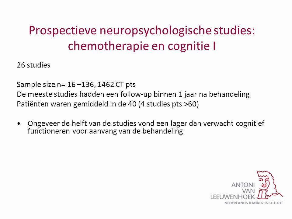 Prospectieve neuropsychologische studies: chemotherapie en cognitie I 26 studies Sample size n= 16 –136, 1462 CT pts De meeste studies hadden een foll