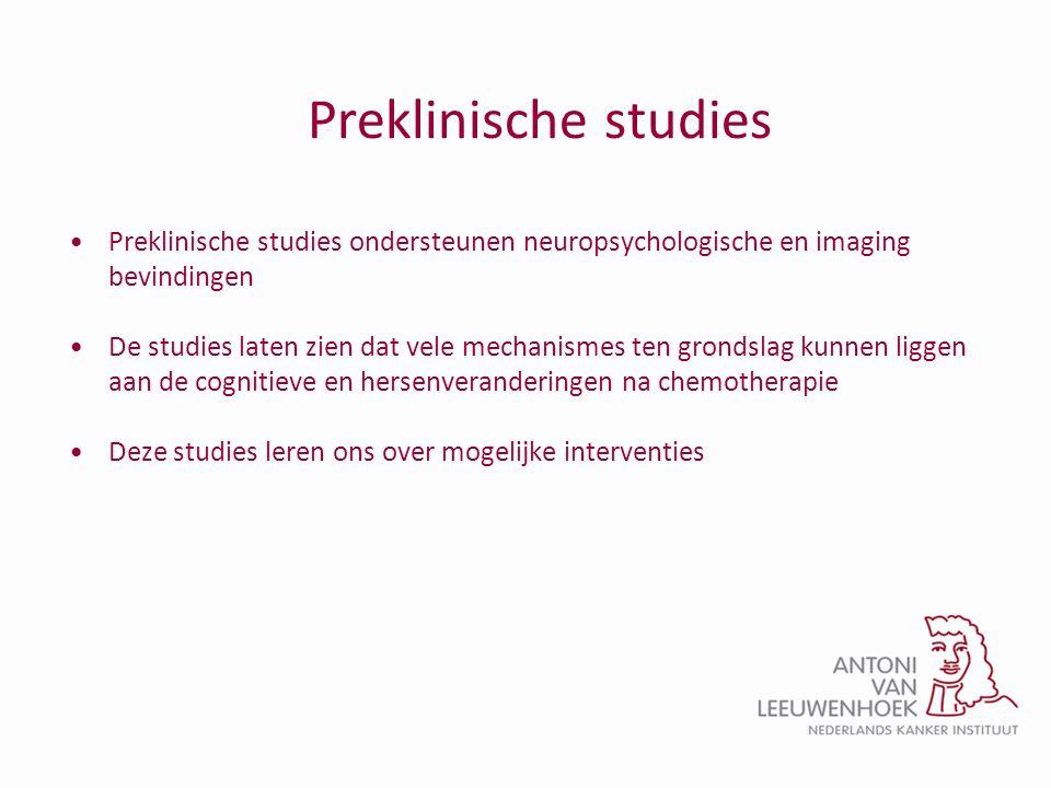 Preklinische studies •Preklinische studies ondersteunen neuropsychologische en imaging bevindingen •De studies laten zien dat vele mechanismes ten gro