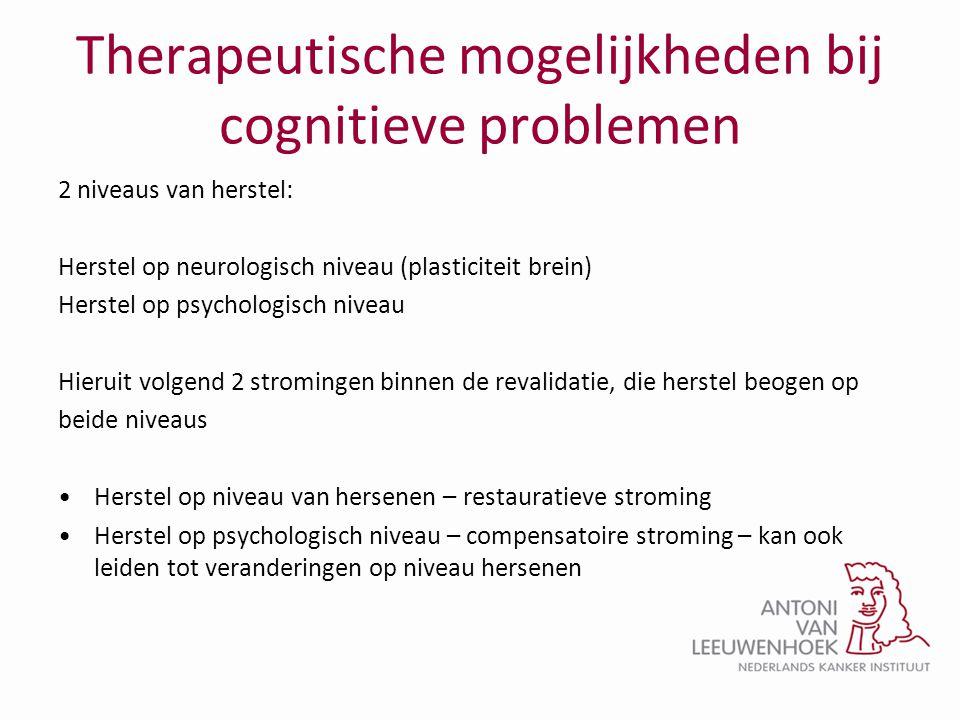Therapeutische mogelijkheden bij cognitieve problemen 2 niveaus van herstel: Herstel op neurologisch niveau (plasticiteit brein) Herstel op psychologi