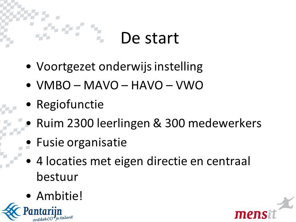 2 De start •Voortgezet onderwijs instelling •VMBO – MAVO – HAVO – VWO •Regiofunctie •Ruim 2300 leerlingen & 300 medewerkers •Fusie organisatie •4 loca