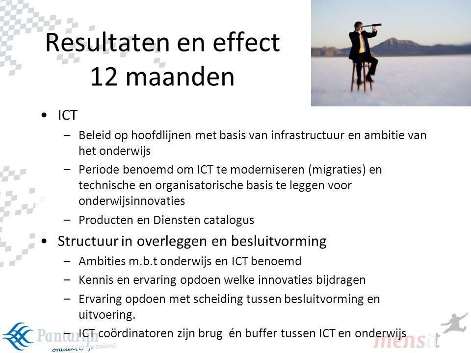 24 Resultaten en effect 12 maanden •ICT –Beleid op hoofdlijnen met basis van infrastructuur en ambitie van het onderwijs –Periode benoemd om ICT te mo