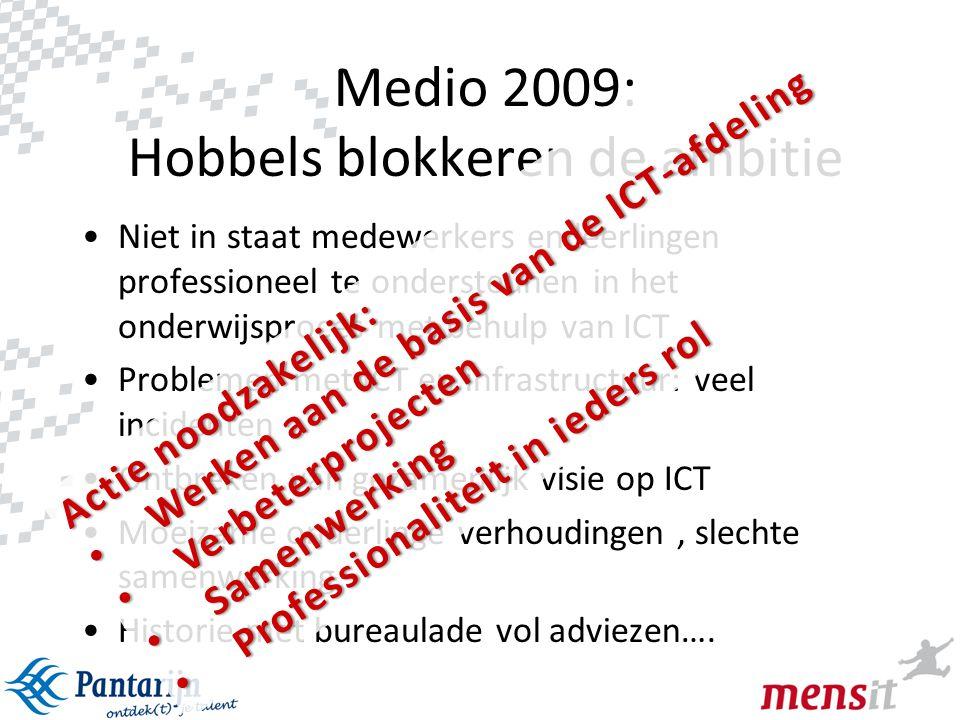 4 Medio 2009: Hobbels blokkeren de ambitie •Niet in staat medewerkers en leerlingen professioneel te ondersteunen in het onderwijsproces met behulp va