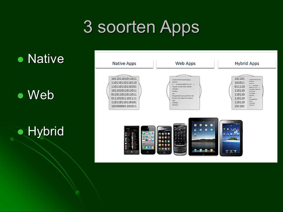 3 soorten Apps  Native  Web  Hybrid