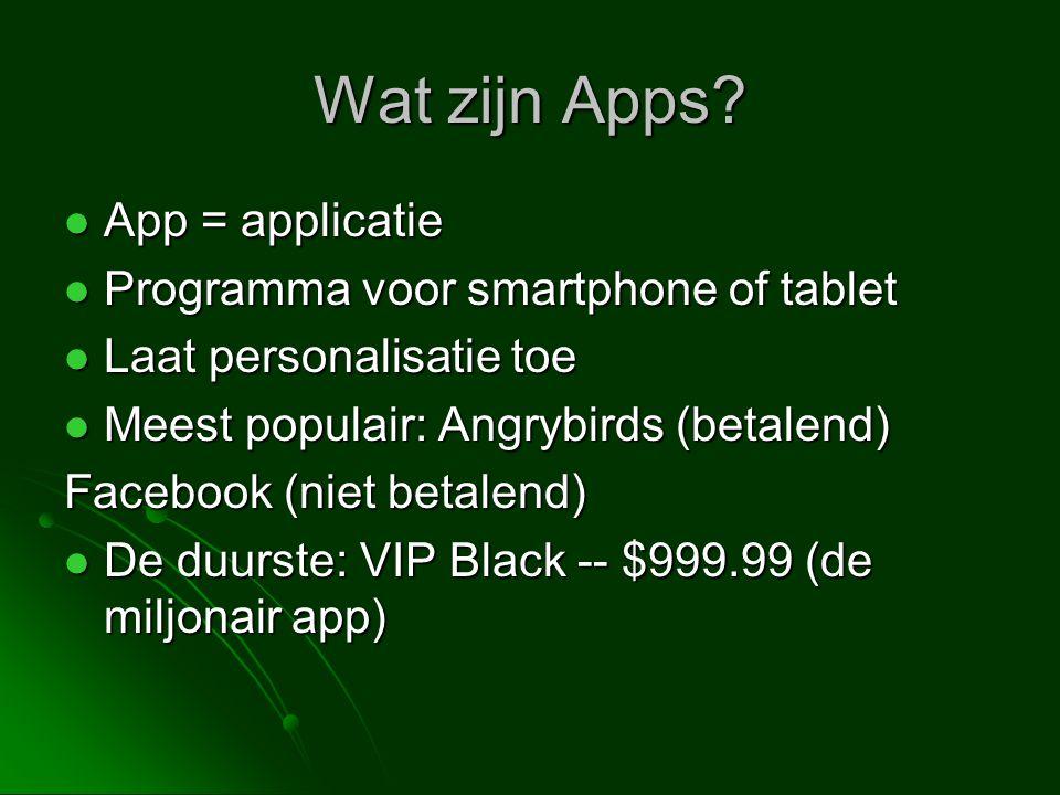 Wat zijn Apps?  App = applicatie  Programma voor smartphone of tablet  Laat personalisatie toe  Meest populair: Angrybirds (betalend) Facebook (ni