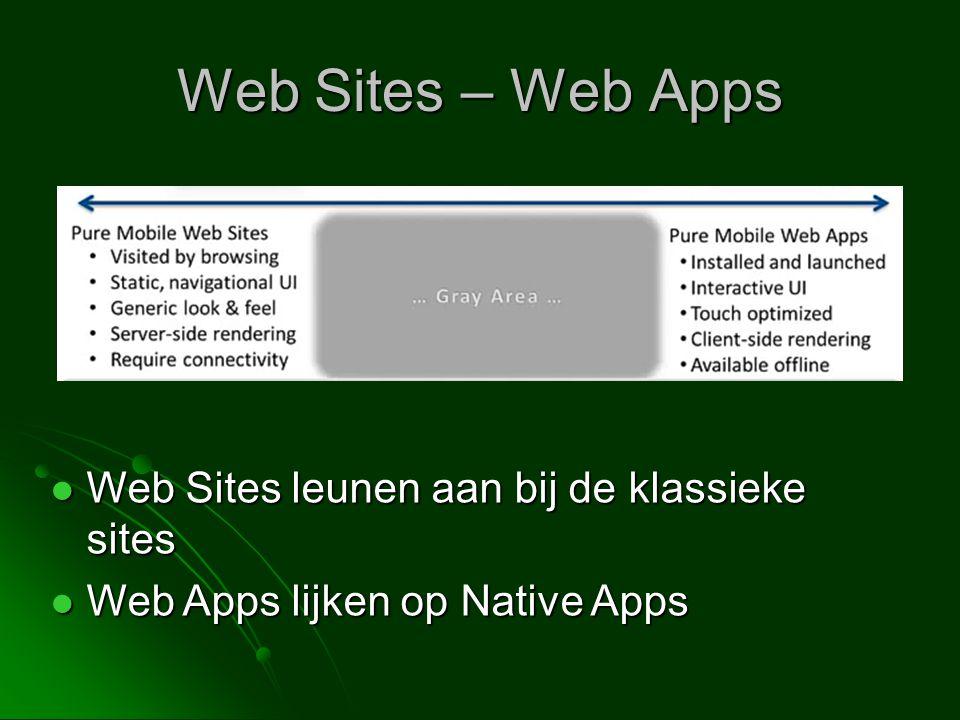 Web Sites – Web Apps  Web Sites leunen aan bij de klassieke sites  Web Apps lijken op Native Apps