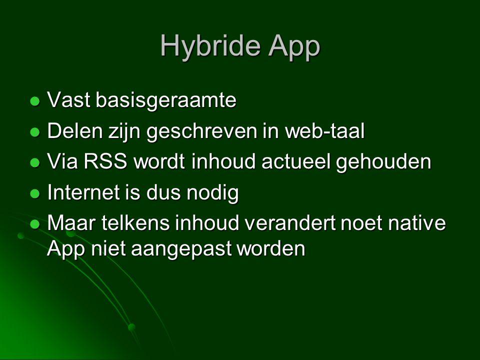 Hybride App  Vast basisgeraamte  Delen zijn geschreven in web-taal  Via RSS wordt inhoud actueel gehouden  Internet is dus nodig  Maar telkens inhoud verandert noet native App niet aangepast worden